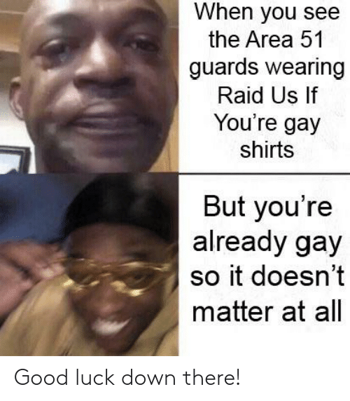 Reddit, Good, and Luck: When you see  the Area 51  guards wearing  Raid Us If  You're gay  shirts  But you're  already gay  so it doesn't  matter at all Good luck down there!