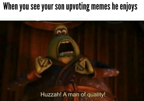 Memes, Man, and You: When you see your son upvoting memes he enjoys  Huzzah! A man of quality