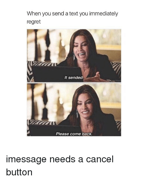 Regret, Text, and Girl Memes: When you send a text you immediately  regret  It sended!  Please come back. imessage needs a cancel button