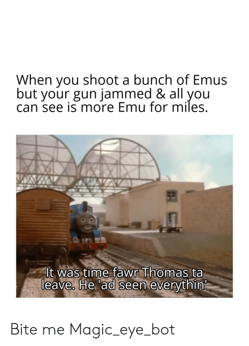 History, Magic, and Time: When you shoot a bunch of Emus  but your gun jammed & all you  can see is more Emu for miles.  It was time fawr Thomas ta  leave. He 'ad seen everythin Bite me Magic_eye_bot
