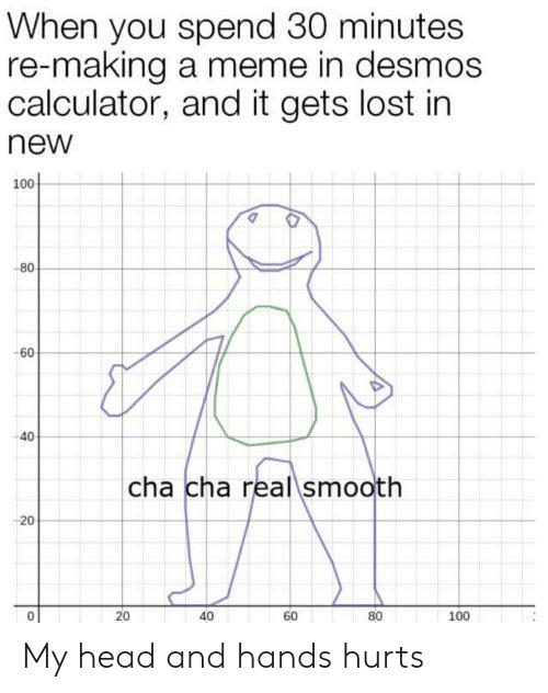 Making A Meme: When you spend 30 minutes  re-making a meme in desmos  calculator, and it gets lost in  new  100  -80  -60  40  cha cha real smooth  20  40  80  60  100  20 My head and hands hurts