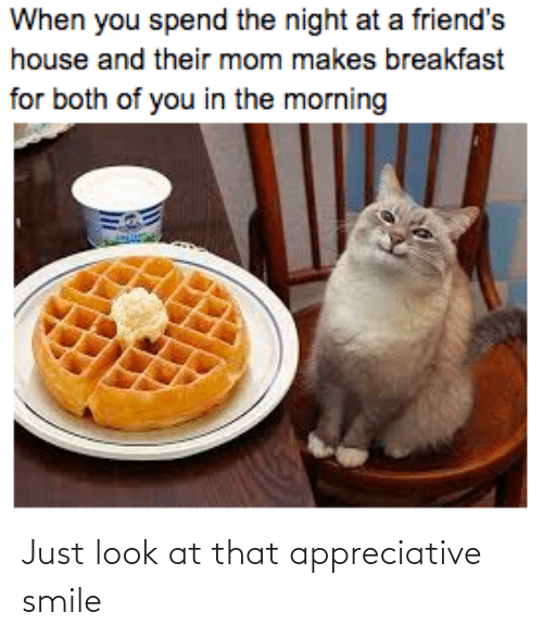 Breakfast: When you spend the night at a friend's  house and their mom makes breakfast  for both of you in the morning Just look at that appreciative smile