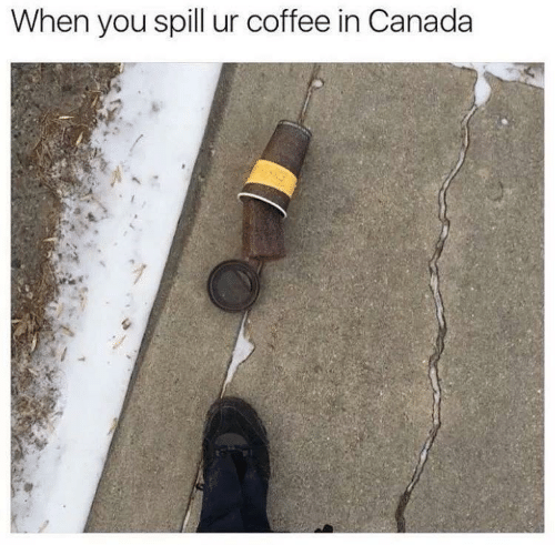 spill: When you spill ur coffee in Canada