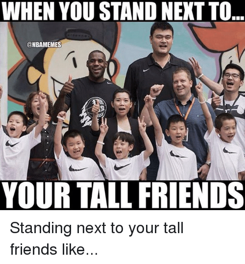 Tall Friend: WHEN YOU STAND NEXT TO  @NBAMEMES  YOUR TALL FRIENDS Standing next to your tall friends like...