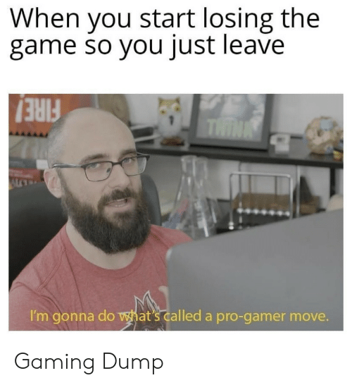 The Game, Game, and Pro: When you start losing the  game so you just leave  THIN  I'm gonna do hat's called a pro-gamer move. Gaming Dump