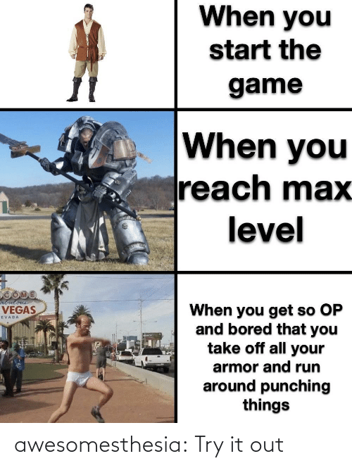 Try It: When you  start the  game  When you  reach max  level  abulous  When you get so OP  and bored that you  take off all your  VEGAS  EVADA  armor and run  around punching  things awesomesthesia:  Try it out