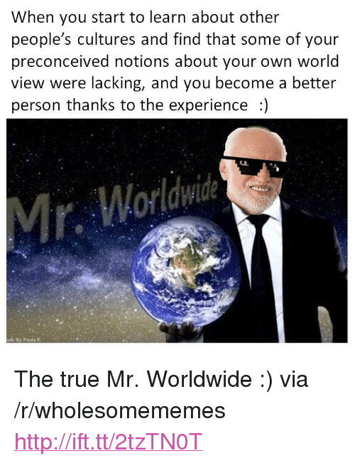 "mr worldwide: When you start to learn about other  people's cultures and find that some of your  preconceived notions about your own world  view were lacking, and you become a better  person thanks to the experience ) <p>The true Mr. Worldwide :) via /r/wholesomememes <a href=""http://ift.tt/2tzTN0T"">http://ift.tt/2tzTN0T</a></p>"