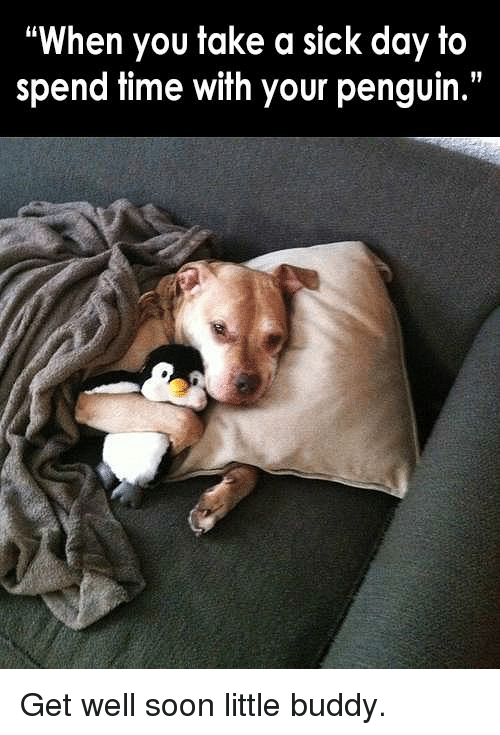 Sick Day: When you take a sick day to  spend time with your penguin. Get well soon little buddy.