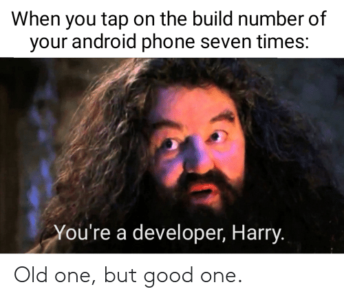 build: When you tap on the build number of  your android phone seven times:  You're a developer, Harry. Old one, but good one.