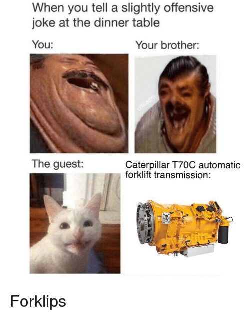 Caterpillar, Table, and Brother: When you tell a slightly offensive  joke at the dinner table  You:  Your brother:  The guest:  Caterpillar T70C automatic  forklift transmission: Forklips