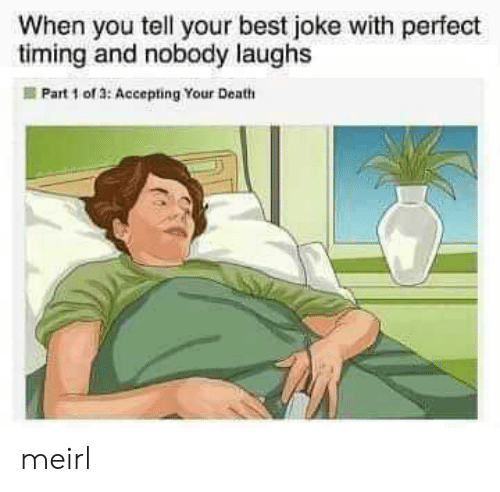 Best, Death, and Perfect Timing: When you tell your best joke with perfect  timing and nobody laughs  Part 1 of 3: Accepting Your Death meirl