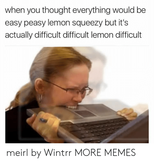 easy peasy: when you thought everything would be  easy peasy lemon squeezy but it's  actually difficult difficult lemon difficult meirl by Wintrr MORE MEMES