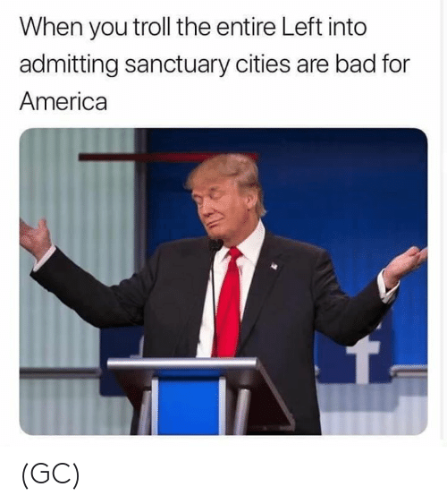 Sanctuary Cities: When you troll the entire Left into  admitting sanctuary cities are bad for  America (GC)