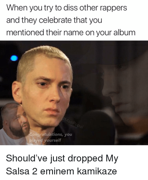 Diss, Eminem, and Funny: When you try to diss other rappers  and they celebrate that you  mentioned their name on your album  Congratulations, you  played yourse  lt Should've just dropped My Salsa 2 eminem kamikaze