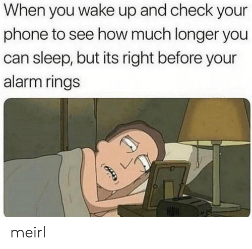 Phone, Alarm, and Sleep: When you wake up and check your  phone to see how much longer you  can sleep, but its right before your  alarm rings meirl