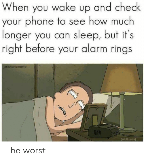 Phone, The Worst, and Adult Swim: When you wake up and check  your phone to see how much  longer you can sleep, but it's  right before your alarm rings  arickandmeme  adult swim  (B The worst