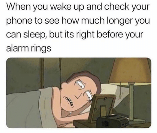 Dank, Phone, and Alarm: When you wake up and check your  phone to see how much longer you  can sleep, but its right before your  alarm rings
