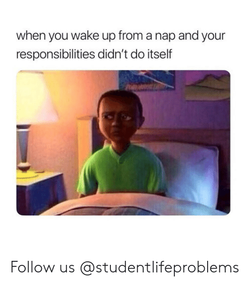 When You Wake Up From A Nap: when you wake up from a nap and your  responsibilities didn't do itself Follow us @studentlifeproblems​
