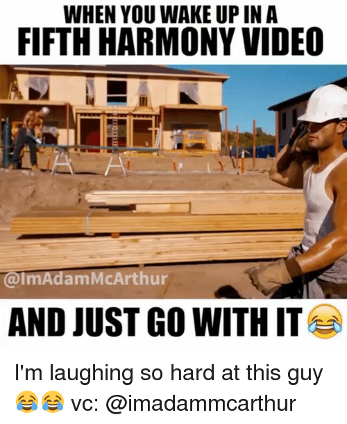 just go with it: WHEN YOU WAKE UP IN A  FIFTH HARMONY VIDEO  @ImAdamMcArthur  AND JUST GO WITH IT I'm laughing so hard at this guy 😂😂 vc: @imadammcarthur