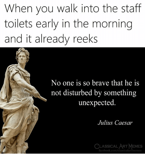 Julius Caesar: When you walk into the staff  toilets early in the morning  and it already reeks  No one is so brave that he is  not disturbed by something  unexpected  Julius Caesar  LASSICAL ART MEMES  facebook.com/classicalartmemes