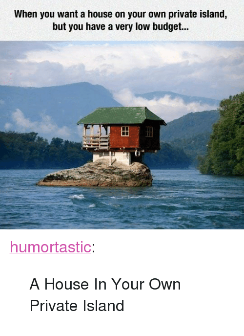 "Low Budget: When you want a house on your own private island,  but you have a very low budget.. <p><a class=""tumblr_blog"" href=""http://humortastic.tumblr.com/post/127852859073"" target=""_blank"">humortastic</a>:</p> <blockquote> <p>A House In Your Own Private Island</p> </blockquote>"