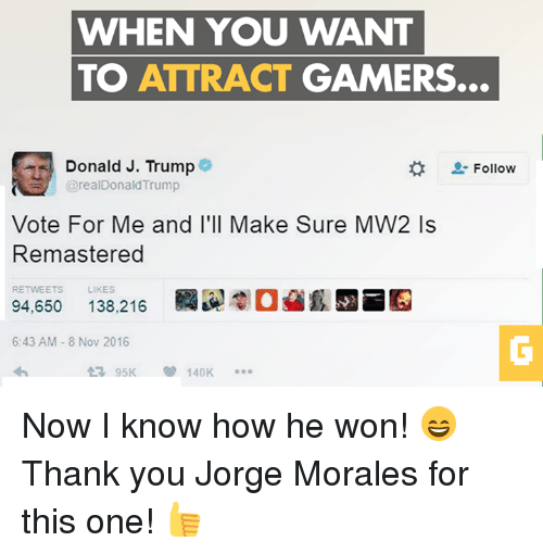 Trump Vote: WHEN YOU WANT  TO ATTRACT  GAMERS.  Donald J. Trump  Follow  @realDonald Trump  Vote For Me and I'll Make Sure MW2 Is  Remastered  RETWEETS LIKES  94,650 138,216  6:43 AM 8 Nov 2016  140K Now I know how he won! 😄 Thank you Jorge Morales‎ for this one! 👍