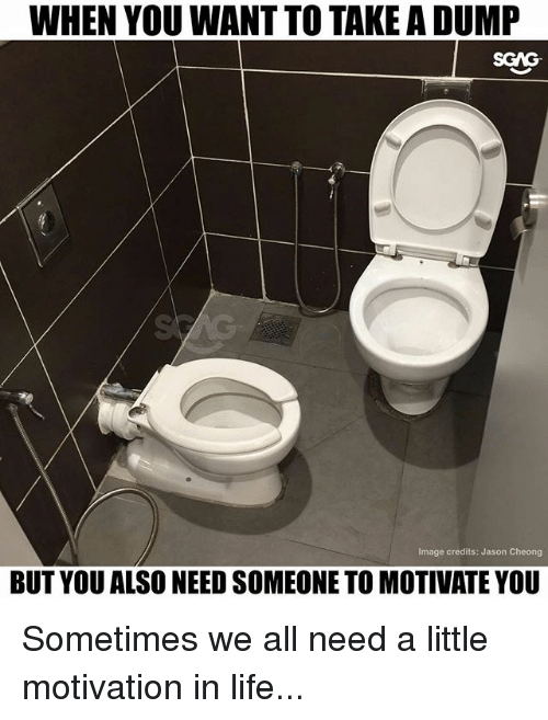 Take A Dump: WHEN YOU WANT TO TAKE A DUMP  Image credits: Jason Cheong  BUT YOU ALSO NEED SOMEONE TO MOTIVATE YOU Sometimes we all need a little motivation in life...