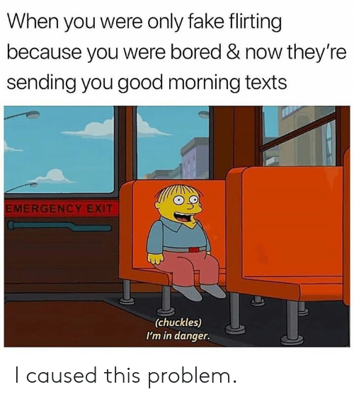 Bored, Dank, and Fake: When you were only fake flirting  because you were bored & now they're  sending you good morning texts  MERGENCY EXIT  (chuckles)  I'm in danger. I caused this problem.