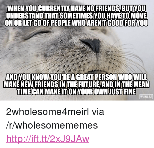 """goof: WHEN YOUCURRENTLY HAVE NOFRIENDS, BUTVOU  UNDERSTAND THAT SOMETIMES VOU HAVE TO MOVE  ON OR LET GOOF PEOPLE WHOARENTGOOD FORYOU  ANDYOU KNOWYOU'REA GREAT PERSON WHO WILL  MAKE NEW FRIENDSIN THE FUTURE,ANDIN THE MEAN  TIME CAN MAKEITONYOUR OWNJUST FINE  WUZU.SE <p>2wholesome4meirl via /r/wholesomememes <a href=""""http://ift.tt/2xJ9JAw"""">http://ift.tt/2xJ9JAw</a></p>"""