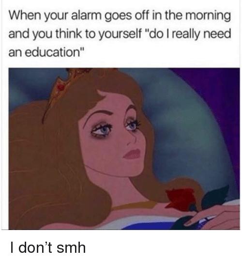"""An Education: When your alarm goes off in the morning  and you think to yourself """"do I really need  an education"""" I don't smh"""
