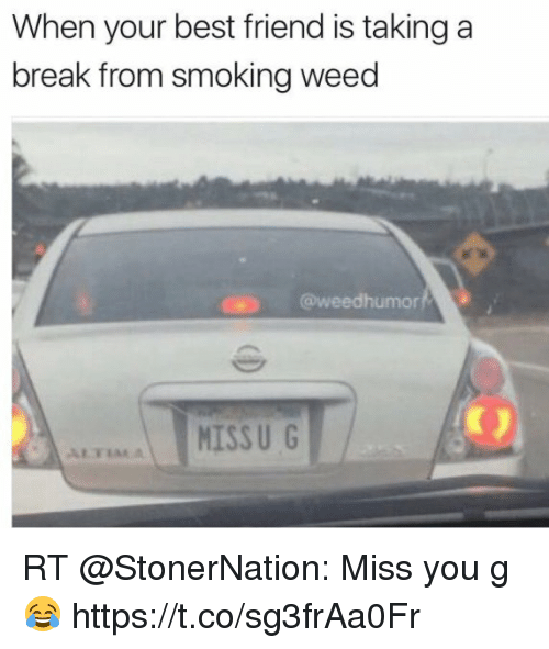 Best Friend, Funny, and Smoking: When your best friend is taking a  break from smoking weed  humor  MISSU G RT @StonerNation: Miss you g 😂 https://t.co/sg3frAa0Fr