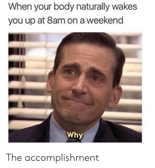 The Office, Weekend, and Why: When your body naturally wakes  you up at 8am on a weekend  Why The accomplishment