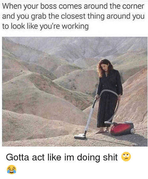 Funny, Shit, and Working: When your boss comes around the corner  and you grab the closest thing around you  to look like you're working Gotta act like im doing shit 🙄😂