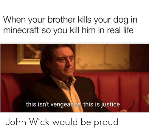 John Wick, Life, and Minecraft: When your brother kills your dog in  minecraft so you kill him in real life  this isn't vengeance this is justice John Wick would be proud