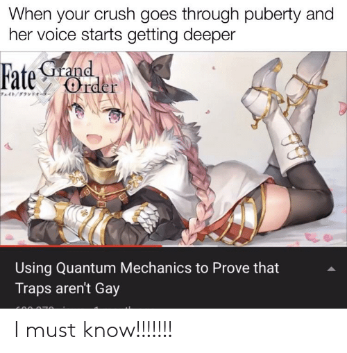 Fate Grand: When your crush goes through puberty and  her voice starts getting deeper  Fate Grand  Order  Using Quantum Mechanics to Prove that  Traps aren't Gay I must know!!!!!!!