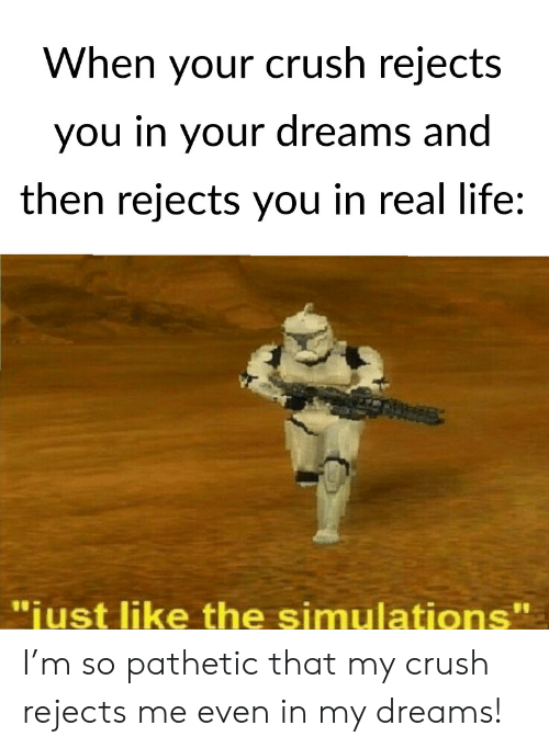 "Crush, Life, and Dreams: When your crush rejects  you in your dreams and  then rejects you in real life:  11  ""iust like the simulations' I'm so pathetic that my crush rejects me even in my dreams!"