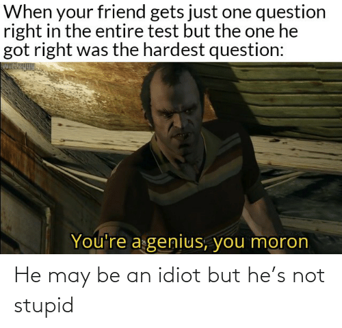Idiot: When your friend gets just one question  right in the entire test but the one he  got right was the hardest question:  You're a genius, you moron He may be an idiot but he's not stupid