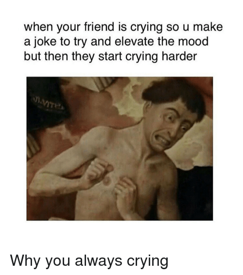Crying, Mood, and Classical Art: when your friend is crying so u make  a joke to try and elevate the mood  but then they start crying harder Why you always crying