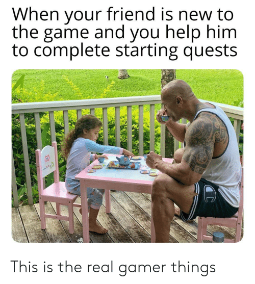 The Game, Game, and Help: When your friend is new to  the game and you help him  to complete starting quests This is the real gamer things