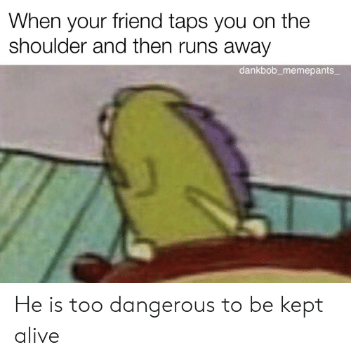 When Your Friend: When your friend taps you on the  shoulder and then runs away  dankbob_memepants_ He is too dangerous to be kept alive