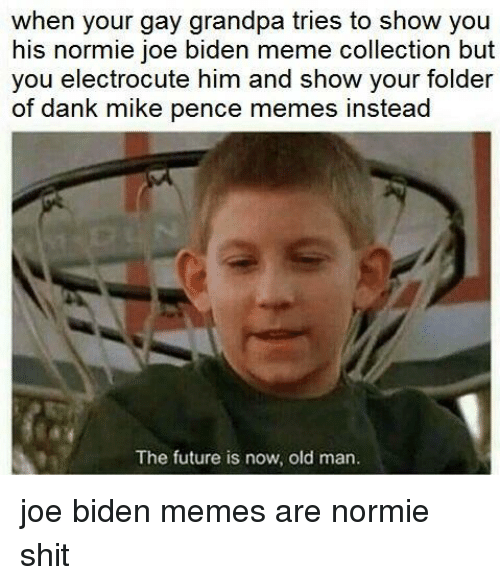 meme collection: when your gay grandpa tries to show you  his normie joe biden meme collection but  you electrocute him and show your folder  of dank mike pence memes instead  The future is now, old marn <p>joe biden memes are normie shit</p>