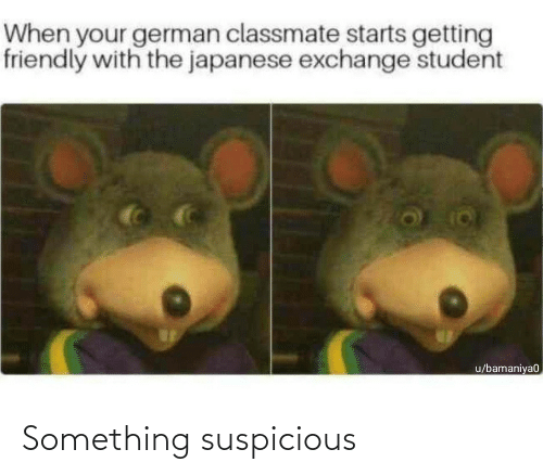 Friendly: When your german classmate starts getting  friendly with the japanese exchange student  u/bamaniya0 Something suspicious