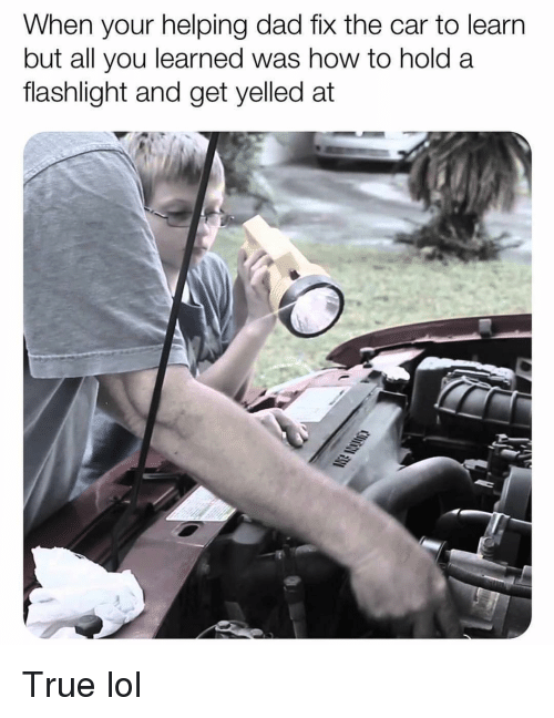 Dad, Funny, and Lol: When your helping dad fix the car to learn  but all you learned was how to hold a  flashlight and get yelled at True lol