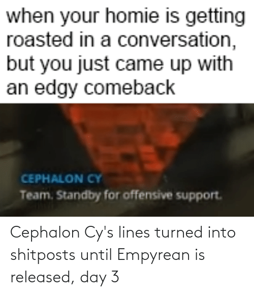 Getting Roasted: when your homie is getting  roasted in a conversation,  but you just came up with  an edgy comeback  CEPHALON CY  Team. Standby for offensive support. Cephalon Cy's lines turned into shitposts until Empyrean is released, day 3