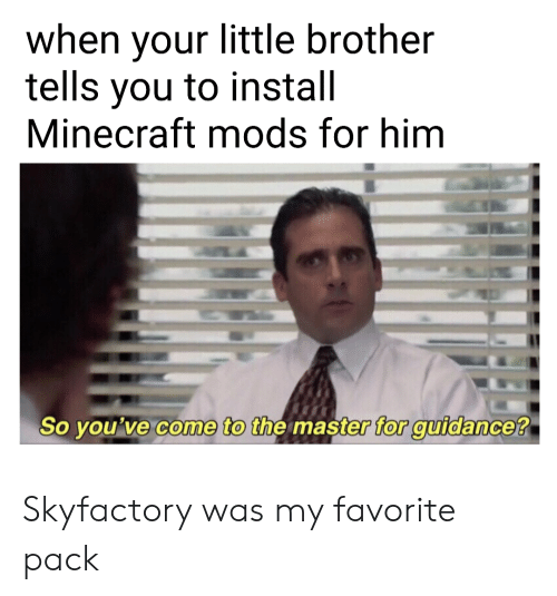 Minecraft, Little Brother, and Brother: when your little brother  tells you to install  Minecraft mods for him  So you've come to the master for guidance? Skyfactory was my favorite pack