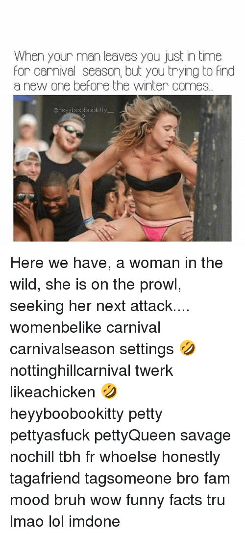 Bruh, Facts, and Fam: When your man leaves you just in time  for carnival season, but you trying to find  a new one before the winter comes  @hey boobookitty Here we have, a woman in the wild, she is on the prowl, seeking her next attack.... womenbelike carnival carnivalseason settings 🤣 nottinghillcarnival twerk likeachicken 🤣 heyyboobookitty petty pettyasfuck pettyQueen savage nochill tbh fr whoelse honestly tagafriend tagsomeone bro fam mood bruh wow funny facts tru lmao lol imdone