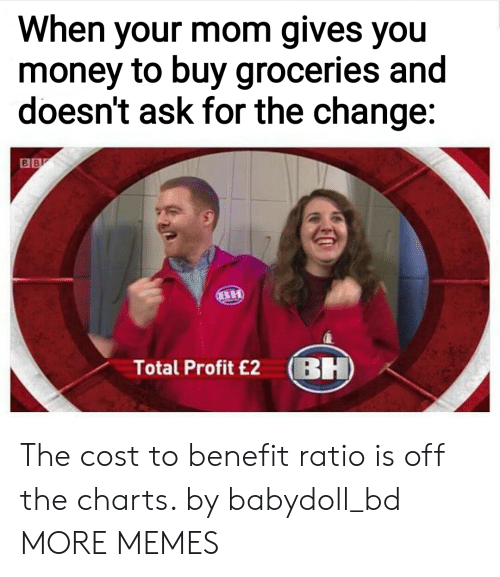 Ratios: When your mom gives you  money to buy groceries and  doesn't ask for the change:  Total Profit £2 BH The cost to benefit ratio is off the charts. by babydoll_bd MORE MEMES