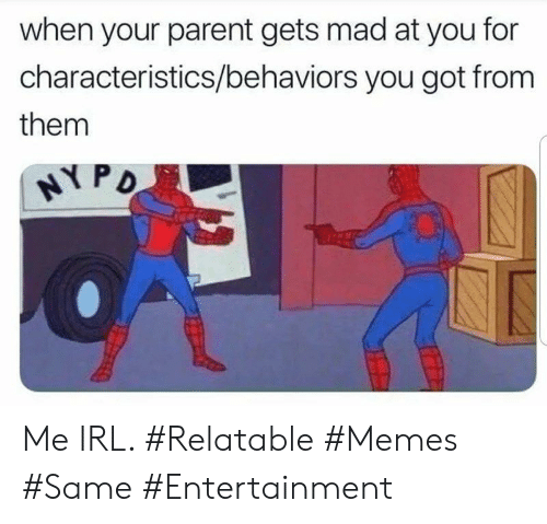 Memes, Relatable, and Mad: when your parent gets mad at you for  characteristics/behaviors you got from  them  HYPD Me IRL. #Relatable #Memes #Same #Entertainment