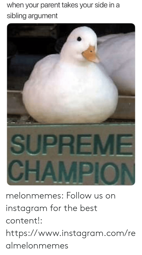 sibling: when your parent takes your side in a  sibling argument  SUPREME  CHAMPION melonmemes:  Follow us on instagram for the best content!: https://www.instagram.com/realmelonmemes