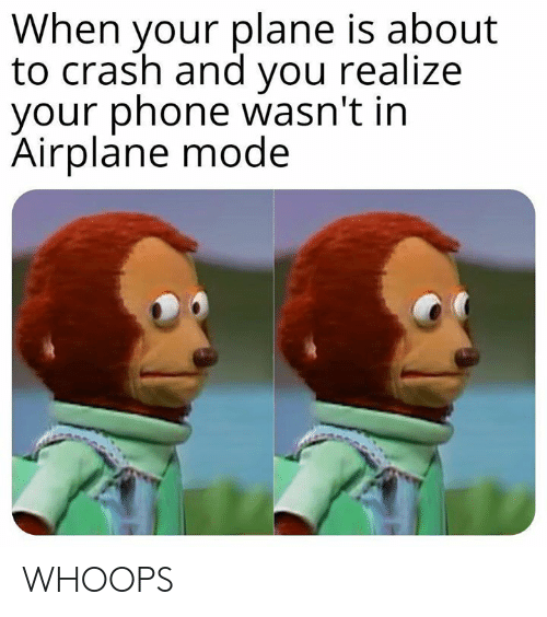whoops: When your plane is about  to crash and you realize  your phone wasn't in  Airplane mode WHOOPS